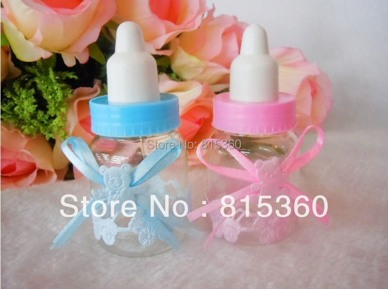48pcs/lot Baby Shower Souvenir Little Bottle Baptism Birthday Party Decorations Kids Favors Candy Gift Boxes(China (Mainland))