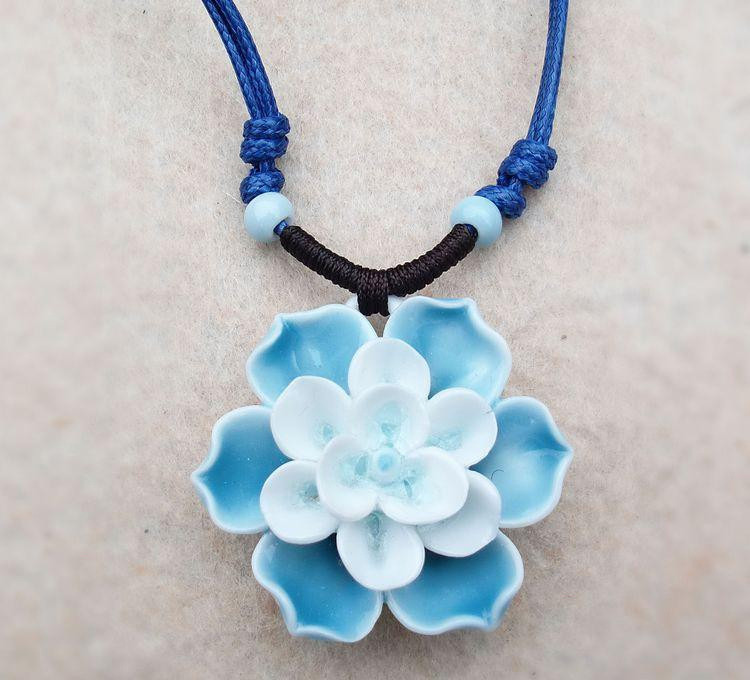 Flower Ceramic Necklaces Handmade Pendants Long New Design Fashion Vintage Jewelry Accessories Wholesale Charm Gifts For Women(China (Mainland))