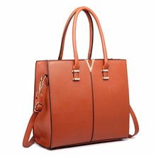 Buy Miss Lulu Women Fashion Designer V Shape Patchwork PU Leather Handbag Shoulder Tote Cross Body Satchel Bag Brown LT1666 for $36.80 in AliExpress store