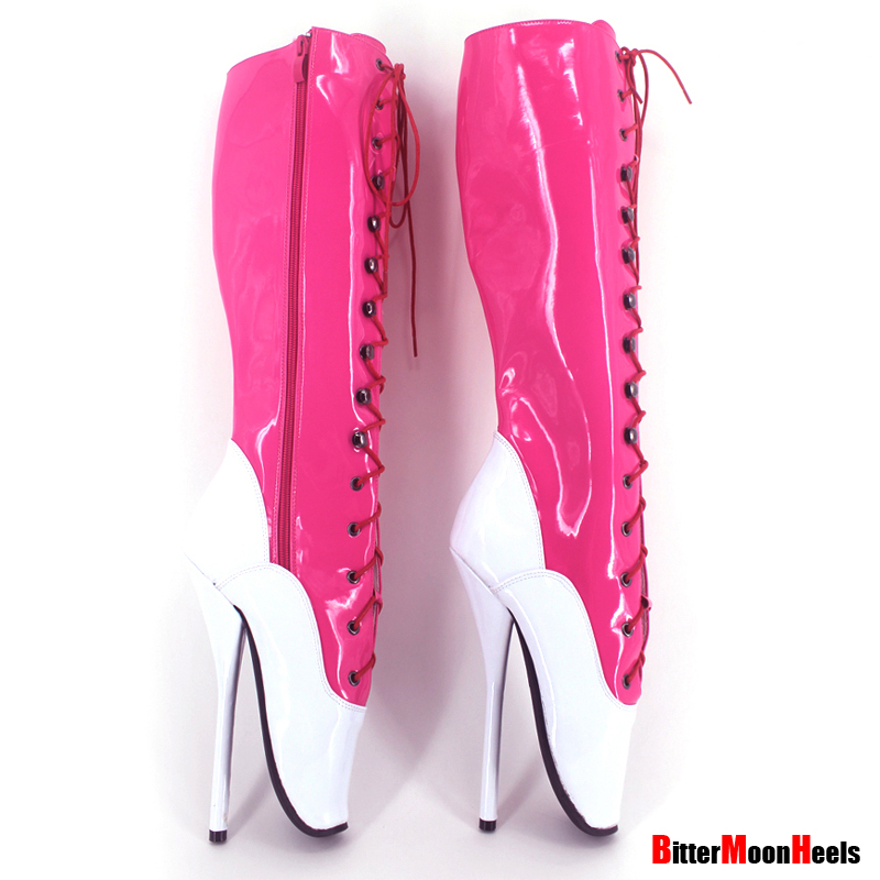 plus size 18cm high heel pink ballet knee boots