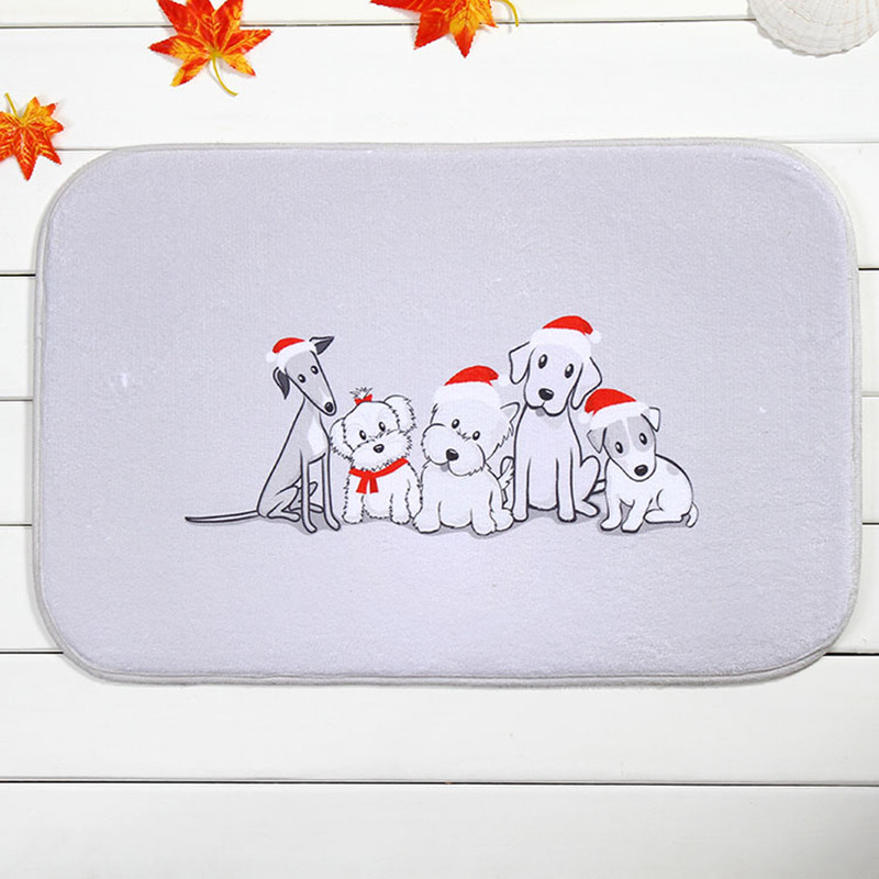 2016 new 40x60cm christmas multi dogs bath mat non slip mats quality coral velvet rug - Multi Bathroom 2016