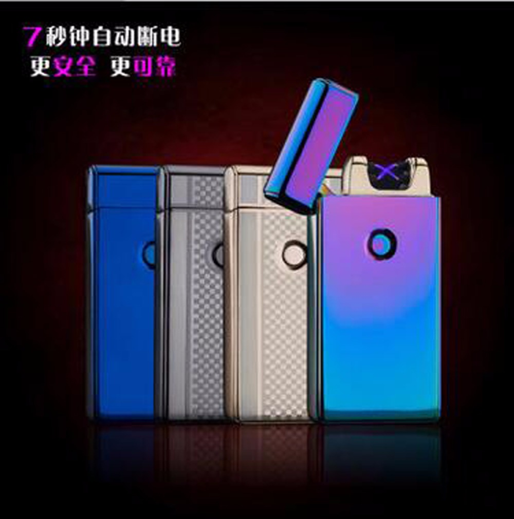 Fashion Double Pulse Arc Metal Ultra-Thin USB Lighter Creative Charging Electronic Cigarette Lighters Gift Box(China (Mainland))
