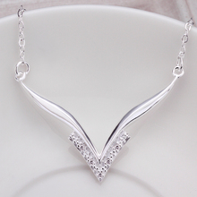 2016 New Top Quality Silver Plated & Stamped 925 big letter V tag pendant with stone necklace for women jewerly wholesale(China (Mainland))
