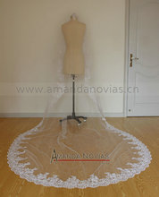 Real Sample Pictures 3 Meter Long Tull Lace Veil to the floor With Lace Edge Free Shipping High Quality(China (Mainland))