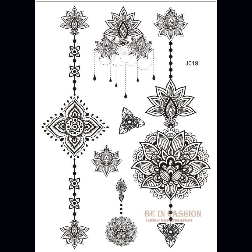 one piece indian arabic designs lace flash tribal black white henna tattoo paste fake tatoo. Black Bedroom Furniture Sets. Home Design Ideas