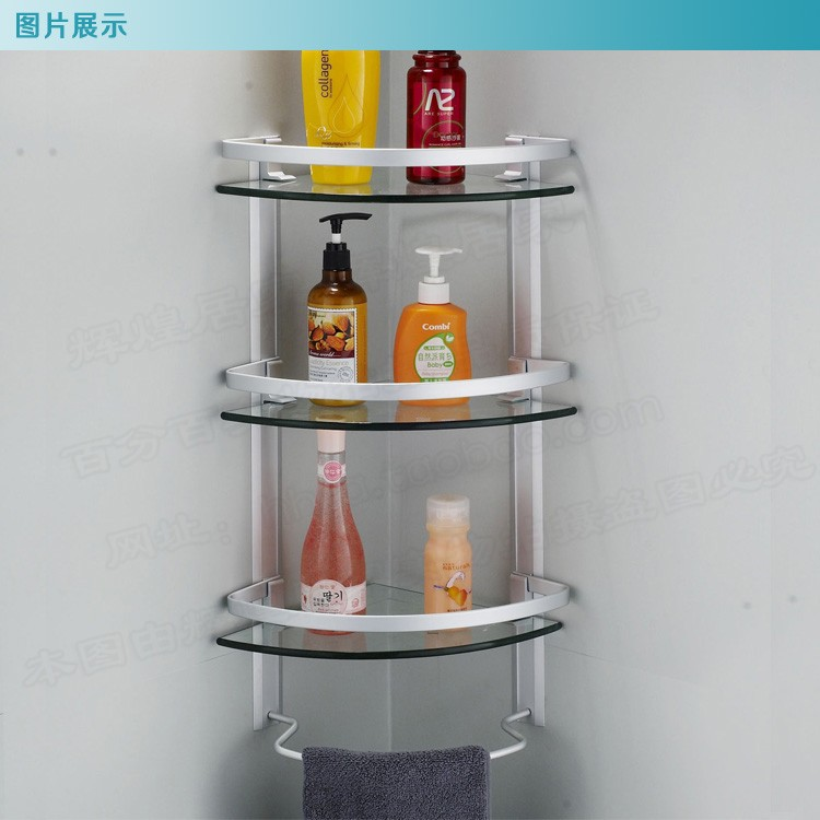 Aluminum 3 tier glass shelf shower holder bathroom for Bathroom glass shelves