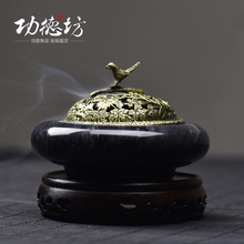 High Quality Stone Incense Burner with Alloy Hollow Cover Royal Palace Censer Living Room Decoration Art Craft(China (Mainland))