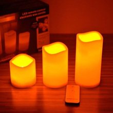 3Pcs/set Romantic Home Flameless Remote LED Candles Romantic Wedding Scented Wax With Remote Control #81303(China (Mainland))