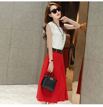 2016 Fashion New! 2 piece set women Dresses temperament Slim Divided skirt dress sleeveless Party Suit two piece set Vestidos