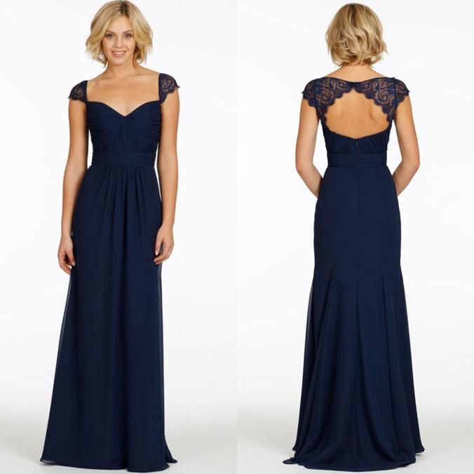 2015 cheap with cap sleeves v neck chiffon long navy blue for Blue wedding dress with sleeves