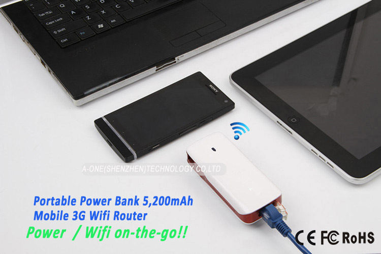 5pcs Promotion Portable Wireless WIFI Router Portable Charger Power Bank 18650 WIFI Support 3G USB Modem 3G Hotspot 5200mAH(China (Mainland))