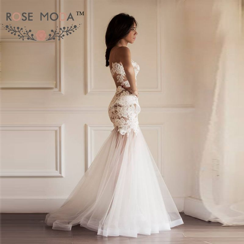 Sheer back lace mermaid wedding dress with detachable for Removable tulle skirt wedding dress