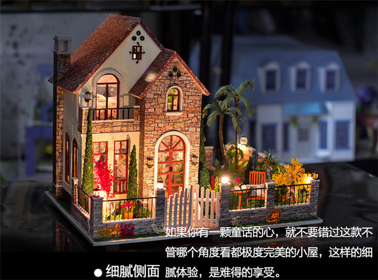 Massive measurement Hand-made wooden DIY doll home with gentle music 3d dollhouse miniature Assembled constructing mannequin  Christmas reward