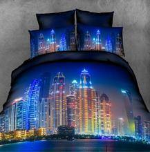 2016 Hot 3D bedding sets queen size,City night scene duvet cover set with sheet,bed sets,bedclothes,bed linens,#3D30-6(China (Mainland))