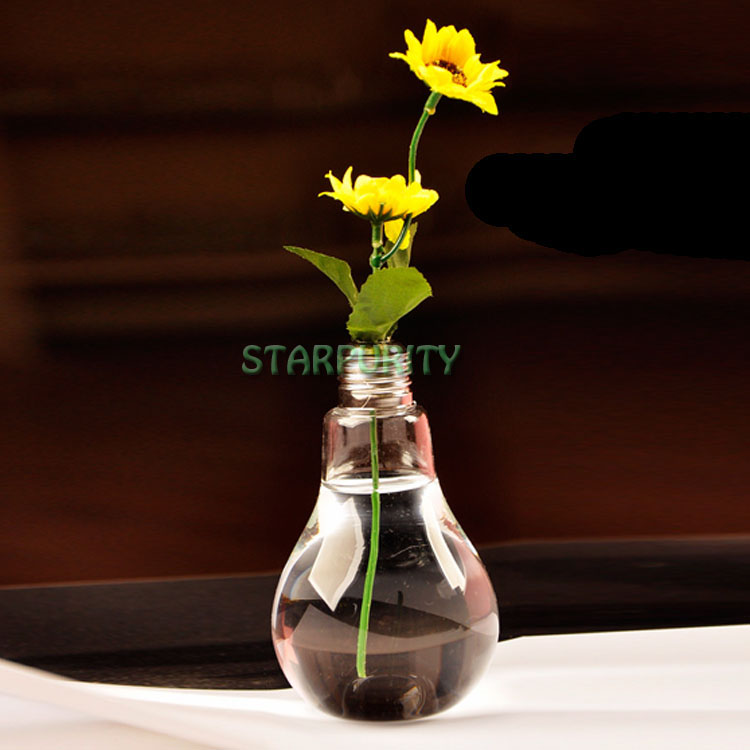 Clear Light Bulb Shape Stand Glass Plant Flower Vase Hydroponic Container Home Office Wedding Decoration(China (Mainland))