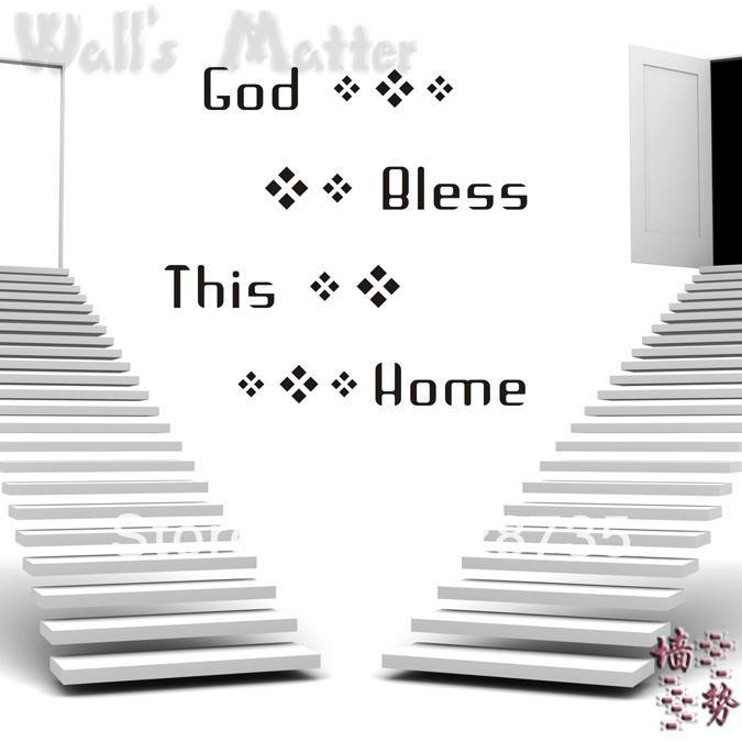 """[i story]-free shipping""""god bless this home"""" blessing quotes vinyl wall art stickers for sofa wall tv background decor(China (Mainland))"""