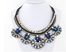 2016 new European-style flower crystal necklaces silver allory Alloy jewelry  vintage rhinestone necklace for woman [CN98058](China (Mainland))