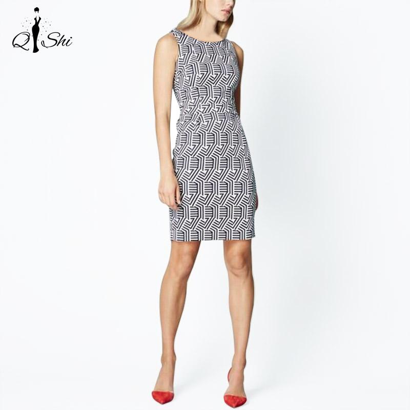 Summer Women Dress 2016 Vintage Elegant Sheath Pencil Dresses Geometric Print Ladies Casual Business Work Dress(China (Mainland))