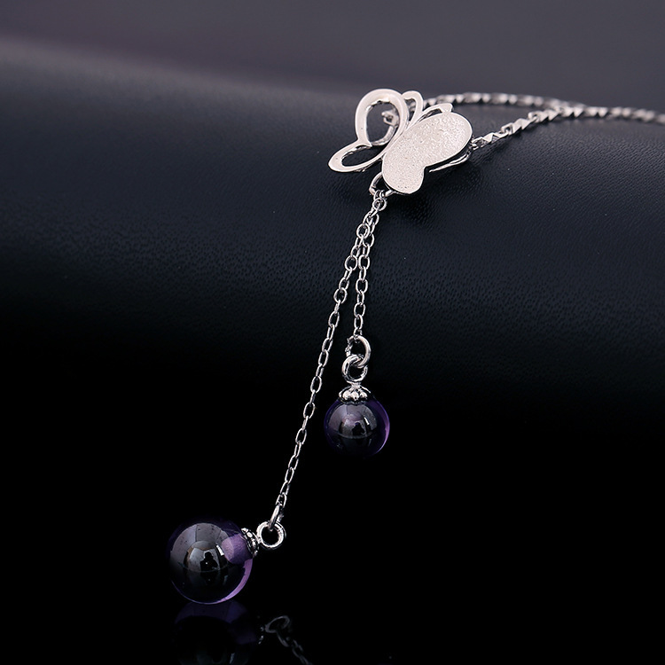 Factory Direct 925 Sterling Silver Purple Stone Necklace Pendant Butterfly Women - LCC Fashion Jewelry & Accessory store