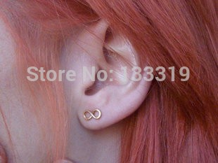 Free Shipping 2014 New Style Christmas Gifts Sophisticated Models Lucky Number Down 8 Stud Earrings(China (Mainland))