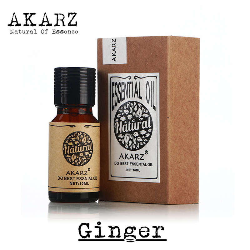 Famous brand AKARZ natural aromatherapy Ginger essential oil body warm aphrodisiac dissipate blood stasis growth hair Ginger oil(China (Mainland))