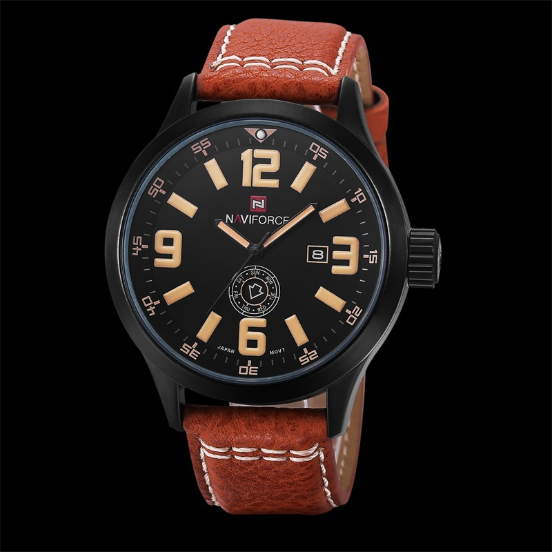 2015 NAVIFORCE New Men Sports Watch Top Brand Luxury Leather Watch Analog Display Quartz Military Watches Men Wristwatch relogio(China (Mainland))