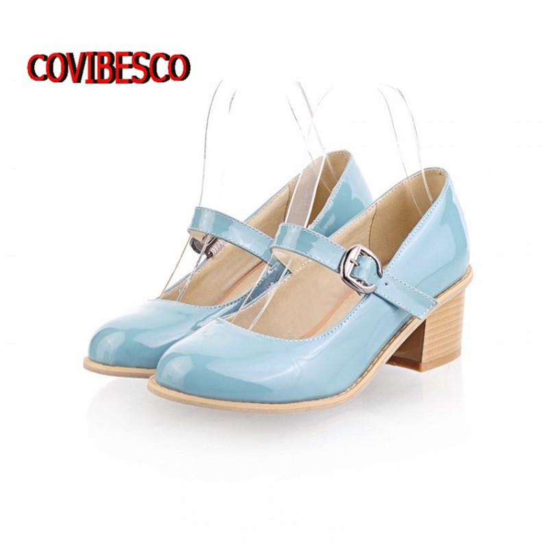 Mary Janes style lovely ladies high square heels shoes patent leather buckle pumps spring - COVIBESCO Ltd's store