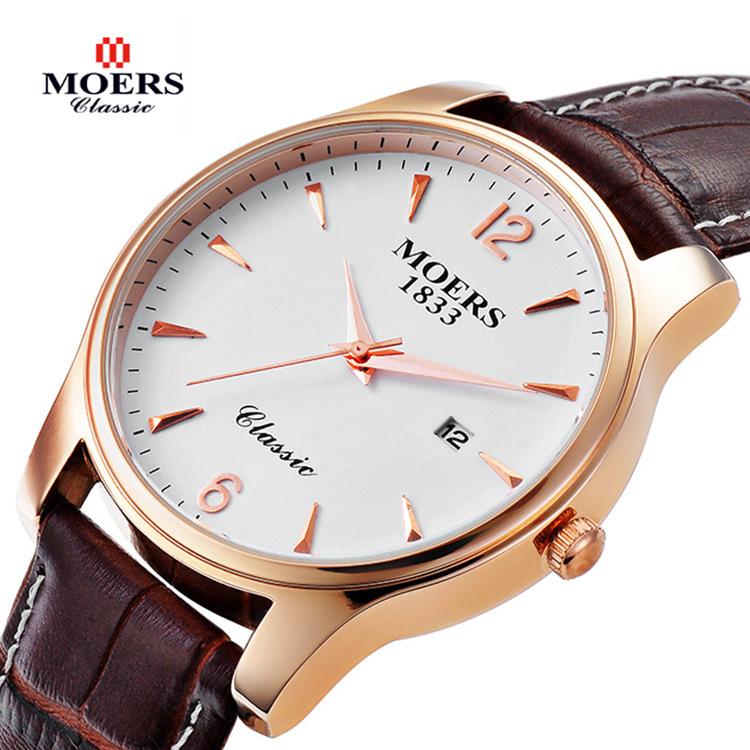 Luxury Brand Leather Strap Auto Date Watch Waterproof Quartz Watches Men Large Dial Business Wristwatches - Di Da store