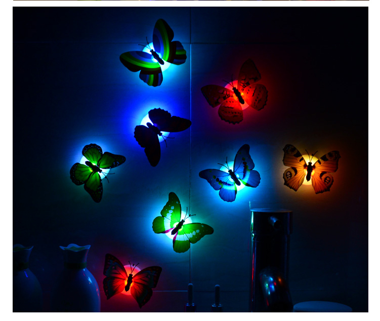 Decorative Wall Night Lights : TTLIFE 1PCS Lovely Creative Color Changing ABS Butterfly LED Night Lights Lamp Beautiful Home ...