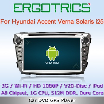 Pure Android 4.0 3G WiFi Car DVD GPS Sat Navi Headunit For Hyundai Verna Accent Solyaris i25 with Can-Bus IPOD Free Wifi Adapter