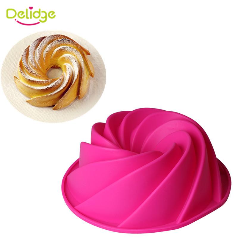 Delidge 1pc Large Spiral Silicone Cake Mold 3D Sugarcraft Chocolate Soap Bread Fondant Cake Pan Mold DIY Baking Tools(China (Mainland))