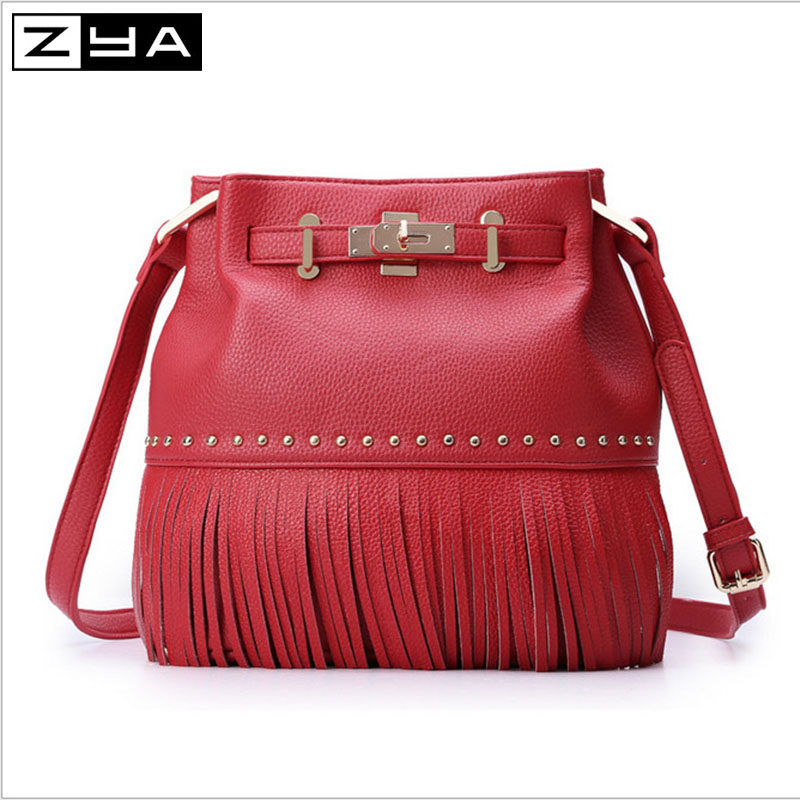 ZYA 2016 fashion tassel personality PU leather Bucket women candy color hang bags soft travel ladies makeup messenger bags(China (Mainland))