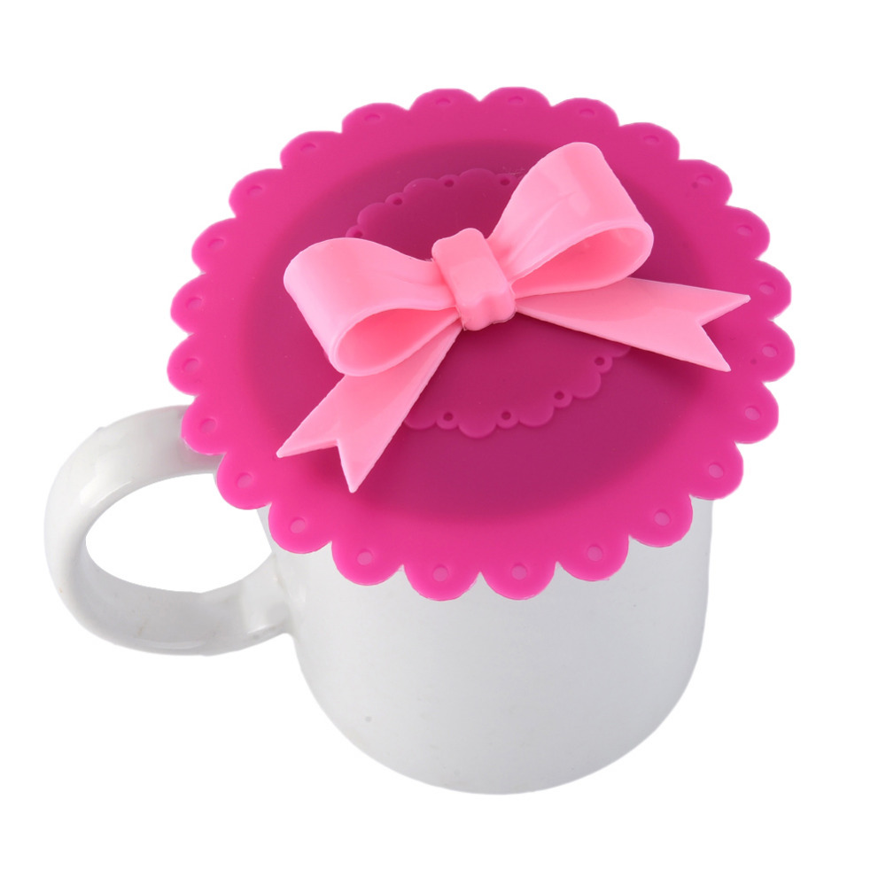 1Pcs Cute Bow-knot Silicone Cup Cover Coffee Suction Seal Lid Cap Airtight Love Creative Gifts For Girlfriend(China (Mainland))