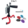 3in1 Lens 12x Telephoto Lens Phone Camera Zoom Lenses Tripod With Universal Clip Bluetooth Shutter For
