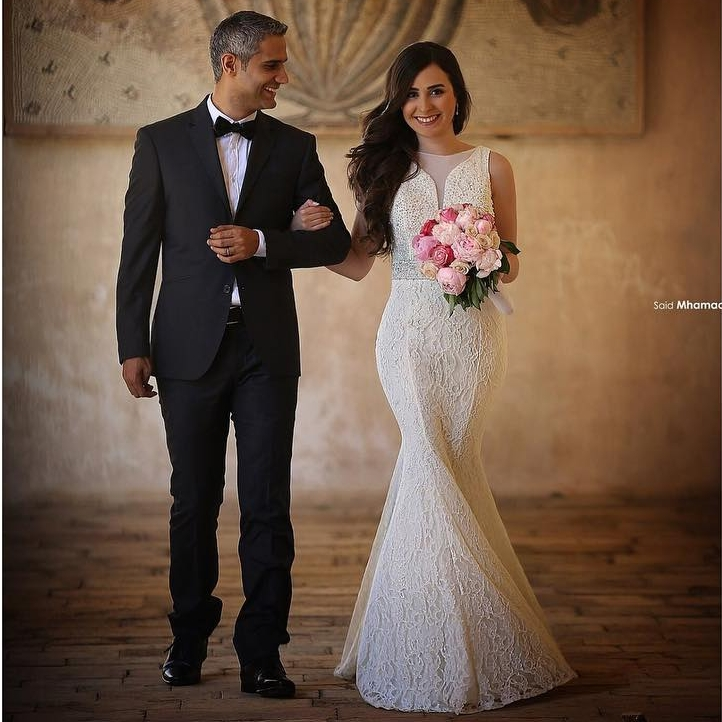Сказал Mhamad романтические кружева русалка свадебные платья 2016 элегантный бисером платье невесты халат де Mariage