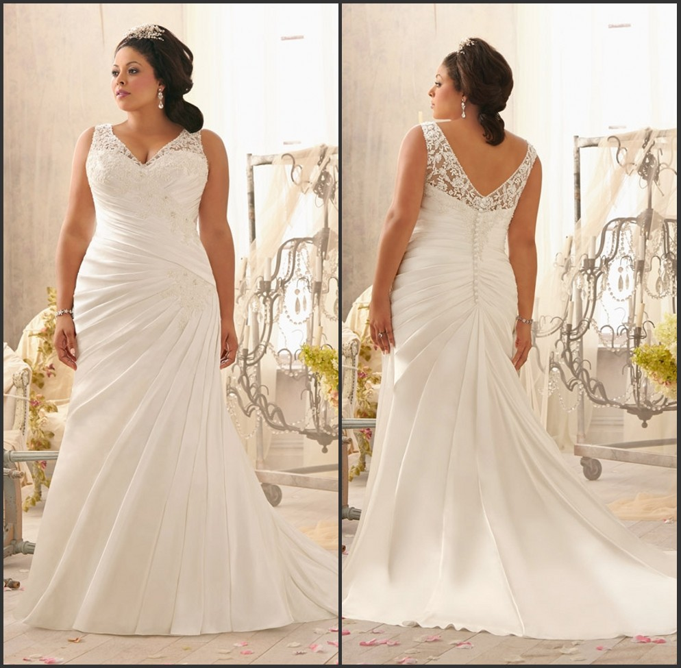 Straps Pleated Bodice Mermaid Plus Size Wedding Dress With Buttons Back In We
