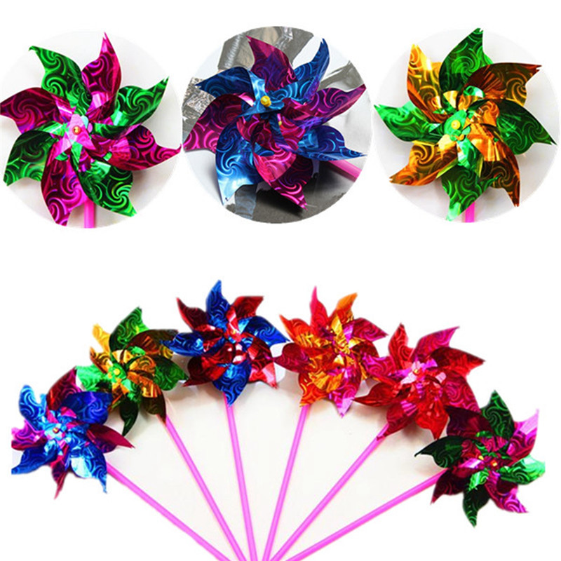 Windmill Spinner Pinwheel Whirl Colorful Changing Flower Home Garden Decor Self-Aseembly Outdoor Camping Kids Toy Brinquedo