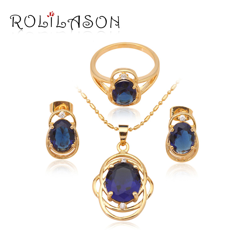 Elegant Jewelry Set Blue Topaz Fashion jewelry 18k yellow gold plated Crystal Sets Earrings Necklace Ring #7#8#9 JS470 - TaoLiHao Ltd. store