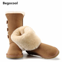 2016 Classic Women Snow Boots Short Leather Winter Shoes Boot Black Chestnut Gray UG Women's Fur Size US 4-13 - Begocool Shoe house Store store
