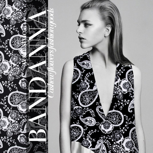 115cm wide 140g/m Flower black white heavy silk linen cloth Paisley Pattern fabric SK101LN - Cute Girl's Fashion store