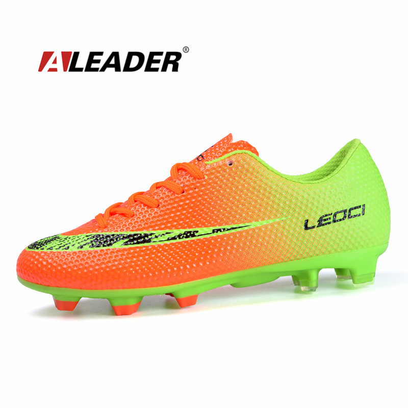 2015 NEW Autumn Mens Soccer Shoes Outdoor Spikes Football Shoes FG Boy Kids Sport Sneakers Athletic Trainers Futsal Shoes 33~44(China (Mainland))