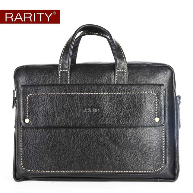 RARITY 100% Genuine Leather Briefcase for men messenger bag real cow leather shoulder bag laptop bag portfolio WPT0018-1