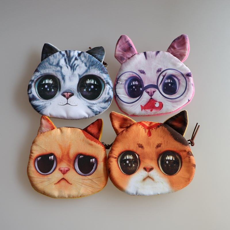 Novelty coin purses Cute Dog / Cat Face Zipper Case Coin Purse Wallet Zipper Case purse Makeup Buggy Bag Pouch Clutch Bag<br><br>Aliexpress
