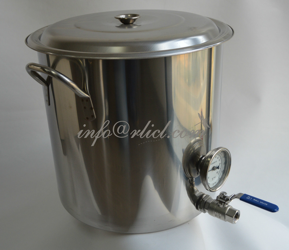 Здесь можно купить  Polished Stainless Steel Brew Kettle,Stock Pot, Homebrew, With thermometer, Valve and all necessory fittings  Дом и Сад