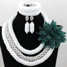 Trendy Purple Kristal Menambahkan Bunga Bros Nigeria Afrika Pernikahan Bridal/Wanita Beads Kalung Perhiasan Set Gratis Pengiriman ANJ211(China)