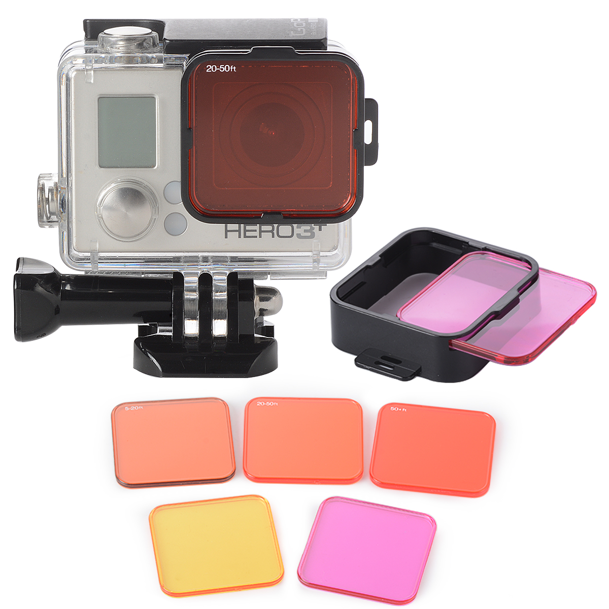 5pcs Diving Waterproof Polarizer Filter Lens Kits Red+ Purple+ Yellow+ Filter Mounting Frame for Gopro Hero 4 3+ LF722+(China (Mainland))
