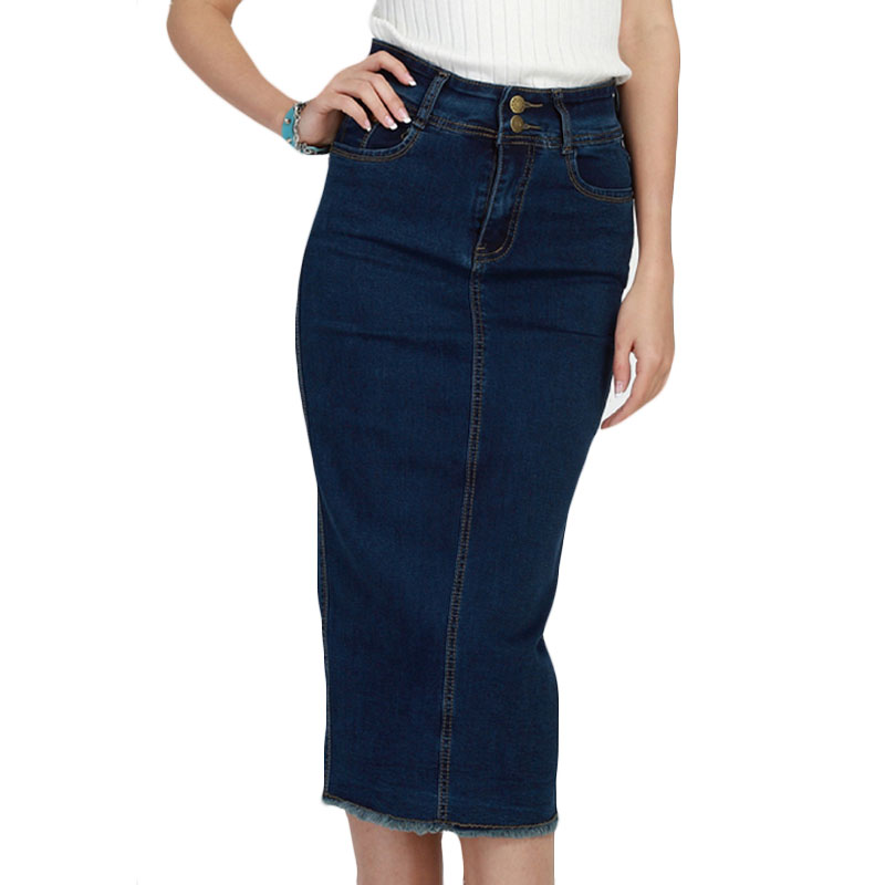 2016 denim skirt vintage button high waist pencil saia