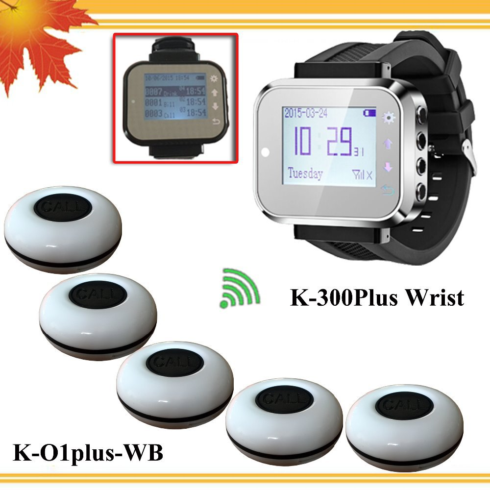 Cheapest call system Wireless Waiter Calling System 5 Pagers Bells and 1 Smart Watch Pager free shipping free(China (Mainland))