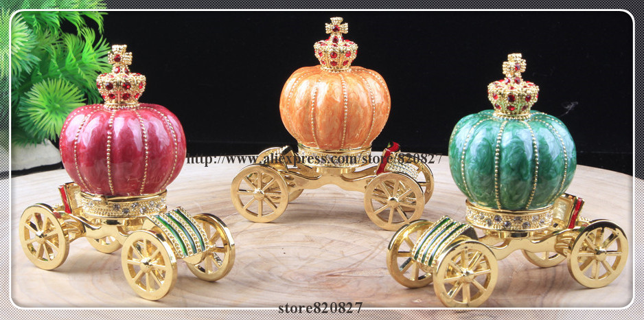 New Carriage Jewelry Trinket Box Figurine Cinderella Pumpkin Carriage Hinged Collectible Carriage Keepsake Trinket Box