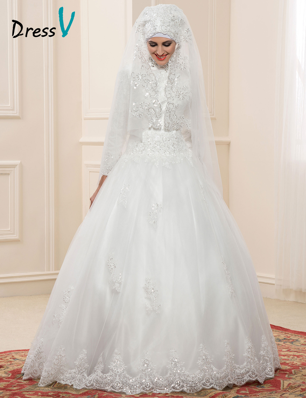 2016 lace long sleeves muslim wedding dresses hijab high for Wedding dresses in dubai prices